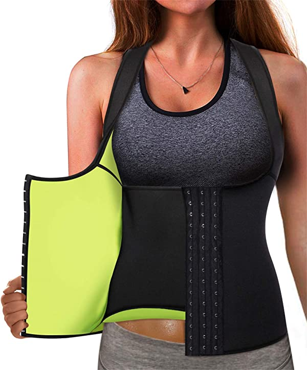 BSFASTHK Women Waist Trainer for Weight Loss Neoprene Sweat Sauna Suits with Adjustable Strap Body Shaper Sport Girdle