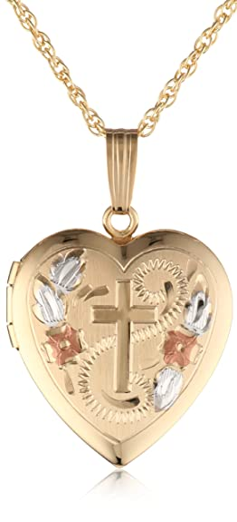 Engraved Cross Heart Locket 14k Yellow Gold 18 Inch