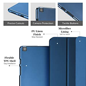 ProCase Galaxy Tab A 8.0 2019 Case T290 T295, Soft Slim Trifold Stand Folio Case with Flexible TPU Translucent Frosted Back Cover for 8.0 Inch Galaxy Tab A 2019 SM-T290 SM-T295 -Navy (Color: Navy, Tamaño: Galaxy Tab A 8.0 T290 T295 2019 Release)