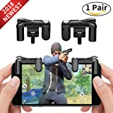 Mobile Game Controller Cell Phone Game Fire Button Aim Key Game Joystick Smart Phone PUBG Knives Out Rules of Survival Gaming Shooter Trigger L1R1 for Android IOS(1 Pair) (Color: Black)