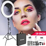Neewer 18-inch LED Ring Light Kit for Makeup YouTube Video Blogger Salon - Adjustable Color Temperature with Battery or DC Power Option, Battery, USB Charger, AC Adapter, Phone Clamp, Stand Included (Tamaño: 18 inches)