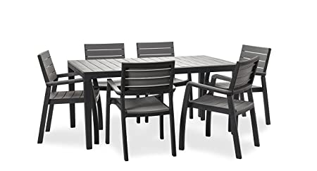 Keter Harmony Garden Furniture, Rectangular Patio Dining Table and 6 Pieces of Patio Furniture Armchair Bundle - Grey/Light Grey