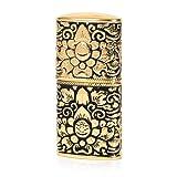 Pure Copper Engraving Flower Antique Style Flint Wheel Oil Petrol Lighter (Gold & Black) (Color: Gold & Black)