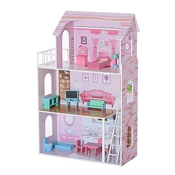 Homcom Grande Set de 13meubles en bois Maison de poupée enfants Enfants Filles Dollhouse Pretend Playset divertissement Imagination jouet Jeu