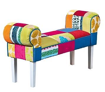 Links - Maiorca 6, Pouf multicolore di 100x30x53hcm in legno massello + mdf + cotone