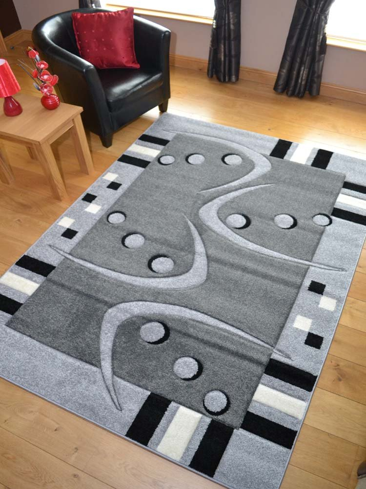 Modern Grey Silver And Black Quality Hand Carved Rugs. Available in 3 Sizes (160cm x 220cm)       Customer reviews and more information