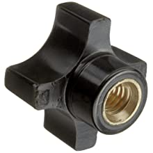 "DimcoGray Black Phenolic 4 Prong Knob Female, Brass Insert: 5/16-18"" Thread x 7/16"" Depth, 1-1/4"" Diameter x 7/8"" Height x 5/8"" Hub Dia x 3/8"" Hub Length (Pack of 10)"