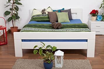 "Holzbett ""Easy Sleep"" K6, 160 x 200 cm Buche Vollholz massiv weiß lackiert"
