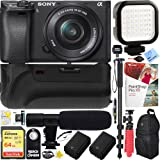 Sony a6300 4K Mirrorless Camera with 16-50mm Power Zoom Lens (ILCE-6300L) - 64GB Battery Grip & Shotgun Mic Pro Video Bundle