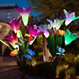 Adamluvs Solar Lights Outdoor,Solar Flowers, Solar Flower Stake Lights,Color Changing Solar LED Flower Lights with 12 Pcs Butterfly Stakes for Garden, Patio, Backyard Decorating (Purple & White) (Color: Purple&White)