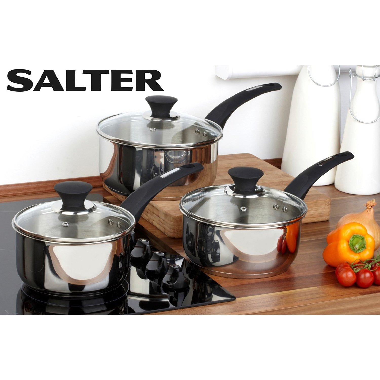 Salter Elegance Stainless Steel Induction 3 Piece Pan Set