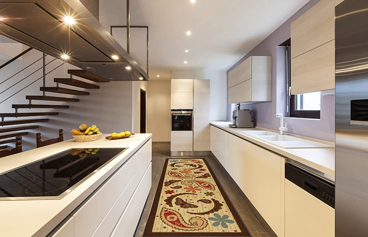 "Ottomanson Saras Kitchen Paisley Design Mat Runner Rug with Non-Skid (Non-Slip) Rubber Backing, Beige, 20"" x 59"""
