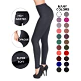 SATINA High Waisted Leggings – 22 Colors – Super Soft Full Length Opaque Slim (Plus Size, Charcoal)