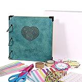 FaCraft 8x8 Scrapbook Album Heart Printed with Gift Box (Color: 8x8 Heart Print Blue, Tamaño: 8