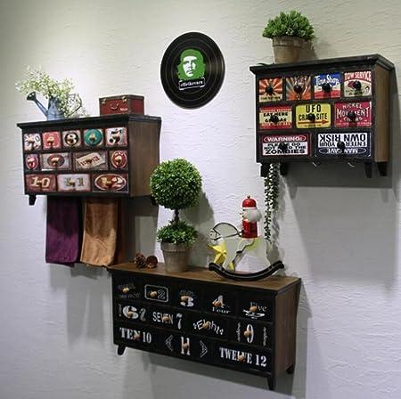Su @ da American retro parete armadio mensole casa bar Cafe ristorante negozio di abbigliamento decorazione 3pcs