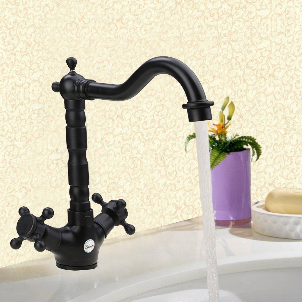 Fuloon Farmhouse Victorian Kitchen Sink Chrome Kitchen Faucet Sink Tap Dual-Lever Swivel Spout Rotating Nozzle,Classic Sink Mixer (Black) 0
