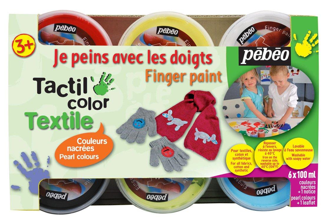 Pébéo 634190 Tacticolor Textile - Set de pintura para tela (6 tarros de 100 ml), colores nacarados variados   Más información y revisión del cliente