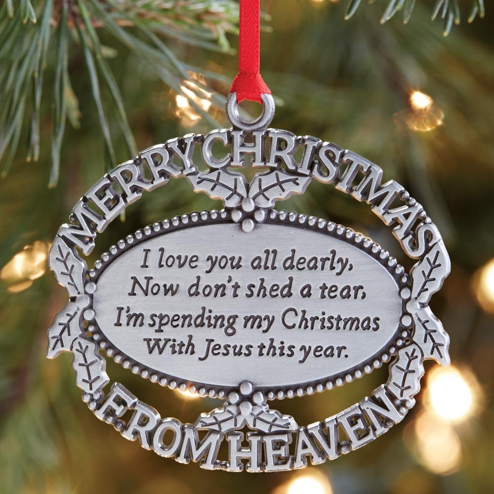 Ornaments for loved ones lost - Merry Christmas From Heaven R Pewter Oval Ornament With Personalized Custom Engraving By Mooney Tunco Amazon In Home Kitchen