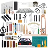 Caydo 202 Pieces Leather Sewing Tools Kit with an Instructions, Leather DIY Hand Stitching Tools with Sewing Pony, Prong Punch, Hole Hollow Punch, Matting Cut forLeather Craft Projects
