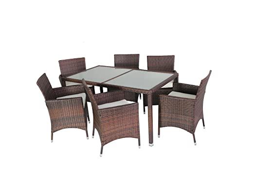 Evre Rattan Outdoor Dining Set - Glass Topped Table & 6 Chairs - Brown