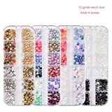 4 Boxes Nail Jewelry Pearls Nail Rhinestones Flat Back AB Diamonds Round Beads Mix Glass Charms Gems Stones For 3D Nails Art Decorations (Color: Multicoloured)