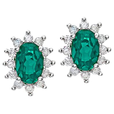 Naava Round Brilliant 0.25 ct Emerald and Diamond 9 ct White Gold Oval Cluster Earrings