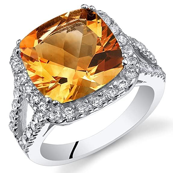 Revoni 4.75 Carats Cushion Cut Citrine Ring In Sterling Silver