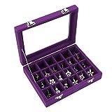 Ivosmart 24 Section Velvet Glass Jewelry Ring Display Organiser Box Tray Holder Earrings Storage Case (Purple) (Color: Purple)