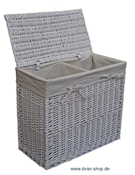 dvier panier linge saule blanc 2 2 compartiments cuisine maison o278. Black Bedroom Furniture Sets. Home Design Ideas