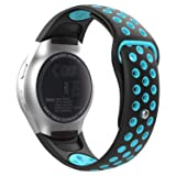 MoKo Compatible Band Replacement for Samsung Gear S2, Soft Silicone Adjustable Replacement Watch Band for Samsung Gear S2 SM-R720 / SM-R730 Sports Smart Watch - Black & Blue (Color: Black & Blue)