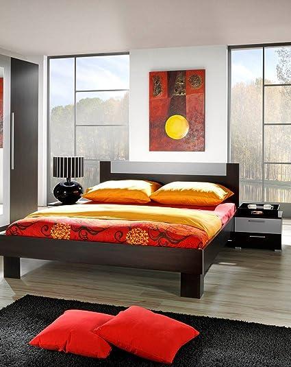 Dreams4Home Doppelbett 'Mona' - Ehebett, Bett 180 x 200 cm, Bett 160 x 200 cm, Jugendbett, Schlafzimmer, Gästezimmer, Jugendzimmer, ohne Matratzen,ohne Lattenrost, in wenge / alu, Größe:160 x 200 cm