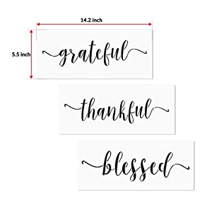 3 PCS Grateful Thankful Blessed Stencils AZDIY Reusable Stencil Set for Painting on Wood Laser Cut Painting Stencil for Home Décor & DIY Projects - Quote Word Stencil Set (Color: Grateful Thankful Blessed, Tamaño: Grateful Thankful Blessed)