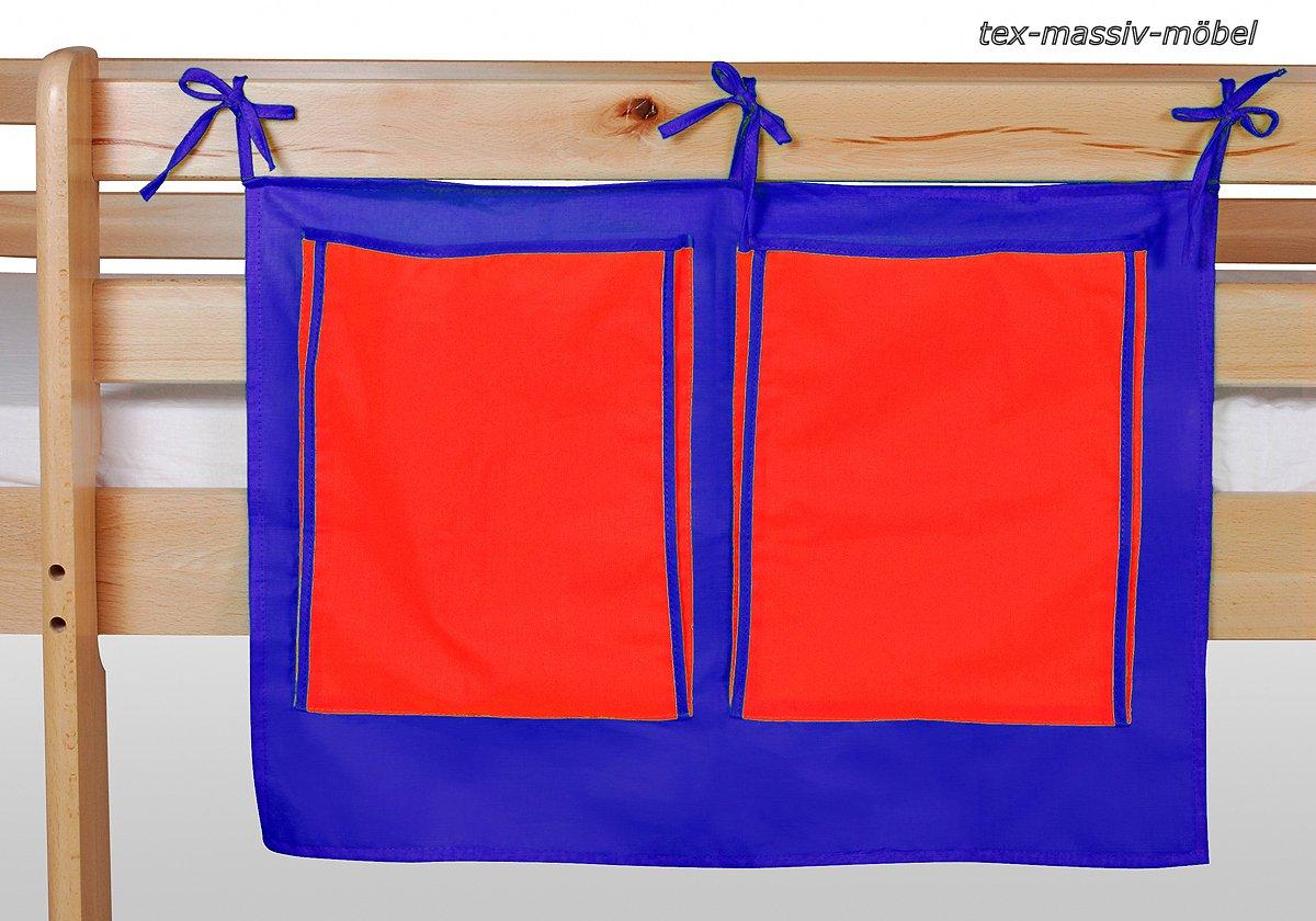 Stoftasche Seitentasche – BLAU-ROT – für Hochbet Spielbett Etagenbett bestellen