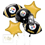 Andaz Press Balloon Bouquet Party Kit with Gold Cards & Gifts Sign, Pittsburgh Steelers Football Themed Foil Mylar Balloon Decorations, 1-Set (Color: Sports Steelers)