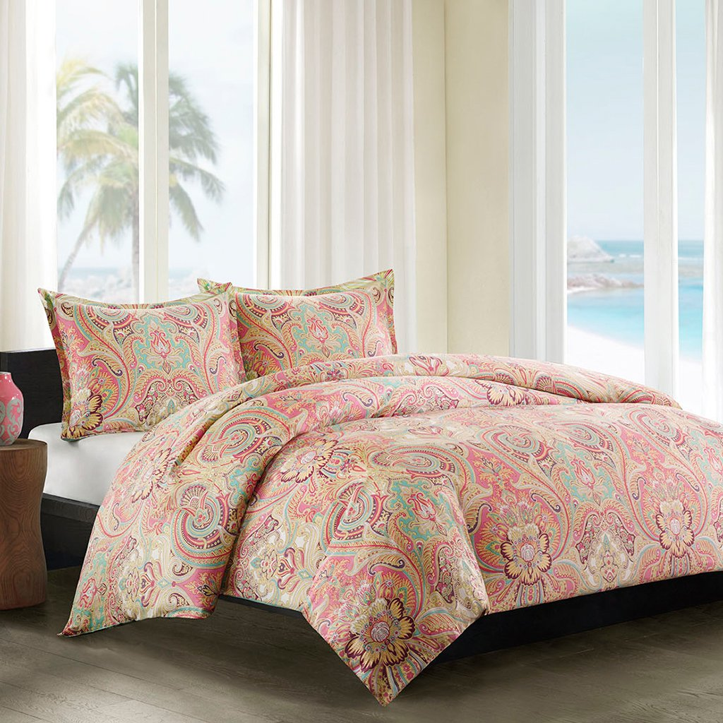 coral duvet cover set – ease bedding with style - echo guinevere mini duvet cover set fullqueen coralsea foam