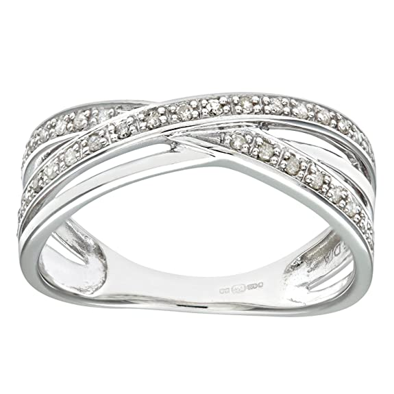 Naava 9ct White Gold 0.15ct Diamond Crossover Ring