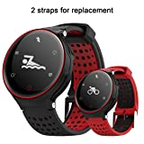 Sports Bracelet,Padgene Bluetooth 4.0 Fitness Activity Tracker IP68 Waterproof Smart Watch Sport Tracker Health Wireless Monitor Wristband with Sleep Monitor and HD Touch Screen (Black Red)