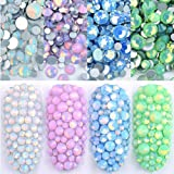 DAODER 4pack Sparkly Opal Rhinestones for Nails 3D Nail Art Rhinestones Kit Crystal Diamond Rhinestones and Charms Nail Decoration Flatback Gems Stones Pink White Blue Green Nail Jewels Crafts DIY (Color: Opal White/Blue/Pink/Green)