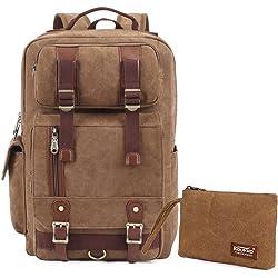 Kaukko FS261-1 Vintage Stlye Elegant Casual Laptop Backpack - Khaki