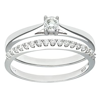 Naava 9ct White Gold 0.33ct Diamond Bridal Set Ring