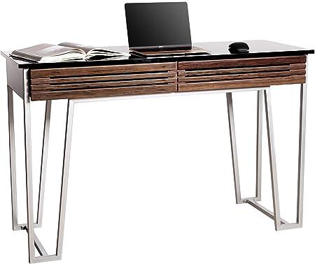 MDA Designs Lyra noce impiallacciato di legno e vetro con gambe contempo cromo satinato lusso scrivania per computer