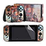 eXtremeRate Hot Girl Print Decals Stickers Full Set Faceplate Skins +2Pcs Screen Protector for Nintendo Switch/NS Console & Joy-con Controller & Dock Protection Kit (Color: Hot Girl)