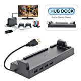 Hub Dock for Nintendo Switch Dock, USB 2.0 Data Transmission Dock with 4 Output Ports for Wired Pro Controllers, Keyboard, Joy-Con Dock, Switch Gamecube Controller Adapter, Mobile Phone, etc (Color: Black)