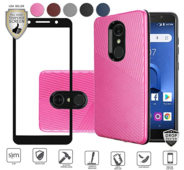Alcatel IdealXtra Case, Alcatel 1X Evolve Case, Alcatel TCL LX Case, Tempered Glass Screen Protector, Premium Tough Armor Shield Hybird [Shockproof] Textured Lined Design Case (Hot Pink) (Color: Hot Pink)
