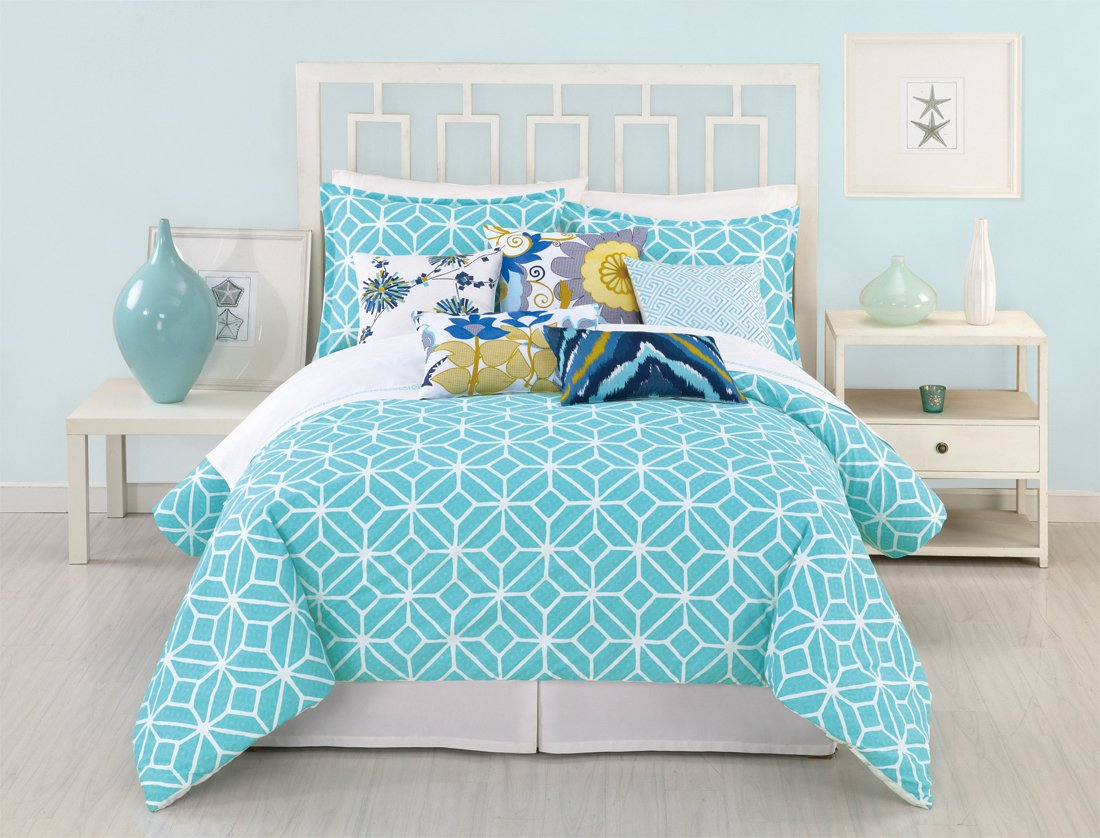 Bedding sets turquoise - Trina Turk 3 Piece Trellis Duvet Set King Turquoise