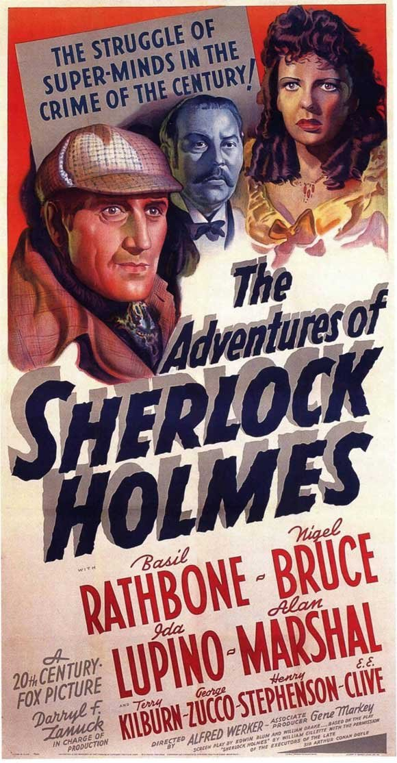The Adventures of Sherlock Holmes 1939 Film Poster Starring Basil Rathbone, Nigel Bruce, with Ida Lupino