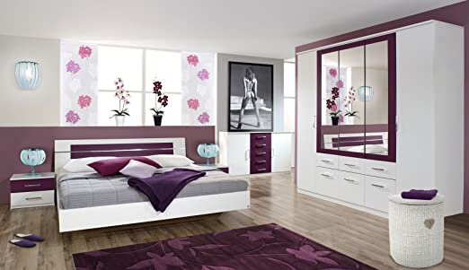 rauch schlafzimmer burano 4 teilig wei brombeer wei brombeer. Black Bedroom Furniture Sets. Home Design Ideas