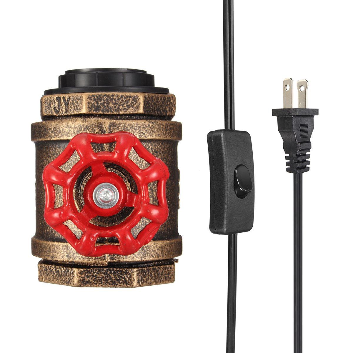 Elfeland Vintage Table Lamp with UL Listed Button Switch Cord Steampunk Industrial Desk Light Antique Rustic Water Pipe Light E26/E27 Base Non-Dimmable (Bulb Not Included)