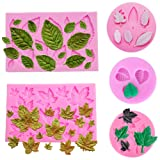 5 Pack Leaf Fondant Silicone Mold 3D Mini Maple Leaf Rose Shaped Leaves DIY Cake Mold Cupcake Decoration Tool Assorted (Color: Leaf Fondant Silicone Molds, Tamaño: Silicone Soap Mold)