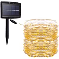 RockBirds Solar String Lights, 72Ft 150 LED Copper Wire Light for Gardens, Patio, Party Warm White